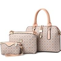2018 Fashion Women Bag Set 3 Pieces Top Handle Bags PU Leather Shoulder Bag Words Stylish Formal Handbags Work High Quality