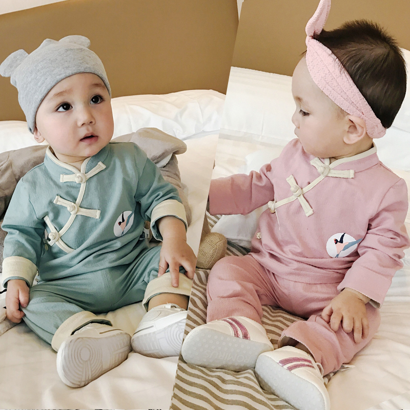 Baby Boy Clothes for Girls Fall Cotton Chinese Style Bodysuits Long Coat+Pants Jumpsuits 1st Birthday Newborn Baby Clothing Sets 5pcs lot baby bodysuits original infant jumpsuits autumn overalls cotton coveralls boy girls baby clothing set cartoon outerwear