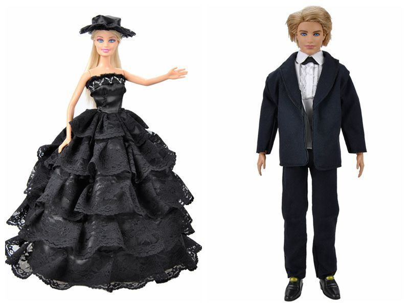 E-TING Handmade Garments Set Black Go well with Outfit & Black Gown with Hat for Barbie Dolls