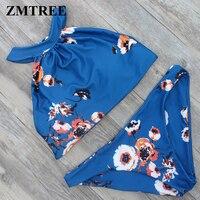 ZMTREE 2017 High Neck Bikini Floral Printed Bikinis Set Women Swimwear Cropped Swimsuit Beach Wear Bathing