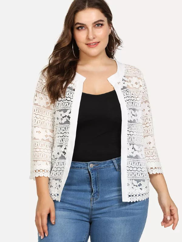 Plus Size Bust Women Top Ladies White Lace   Blouse   Summer Cardigan Coat Black Crochet Sexy Female Women Clothing   Blouse     Shirt   83F