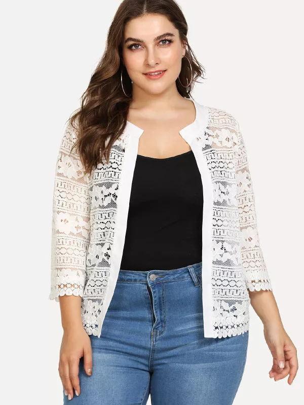 Plus Size Bust Women Top Ladies White Lace   Blouse   Summer Cardigan Coat Black Crochet Sexy Female Women Clothing   Blouse     Shirt   83F