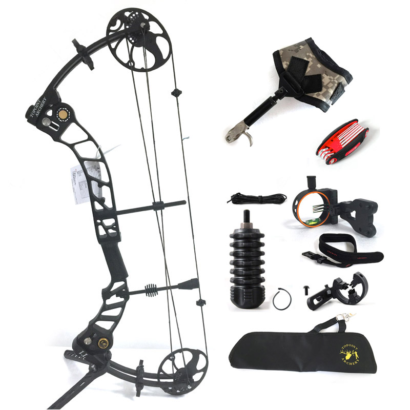 Topoint Archery Left hand bow, compound bow,With 20-70 lbs Draw Weight, black color for human outdoor hunting, Archery bow compound bow for hunting archery bow right hand 50 60 lbs draw weight for human outdoor shooting athletics bows arrow set