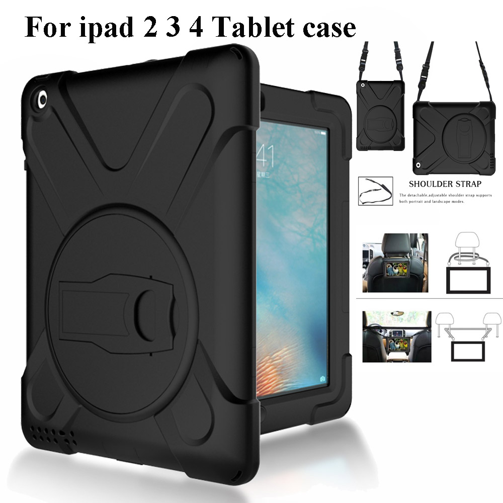все цены на Case For Apple Ipad 2 3 4 Kids Cover Safe Shockproof Heavy Duty Silicone+Pc Kickstand For iPad3 iPad4 Skin Shell+Shoulder Strap