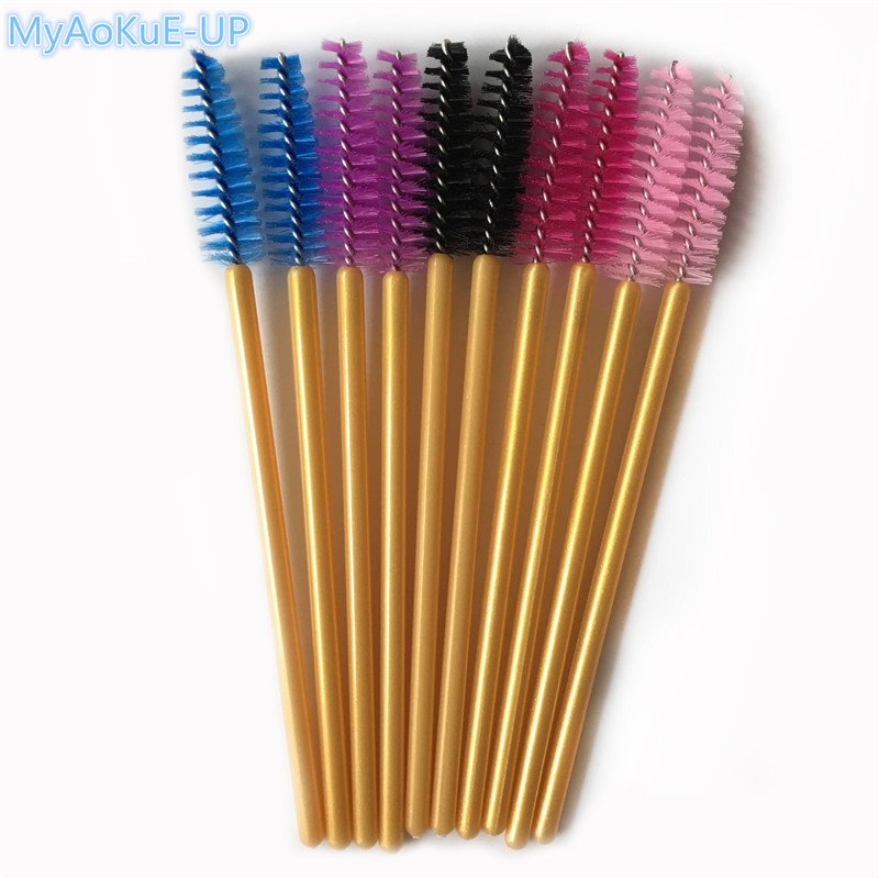 500pcs Disposable Golden Handle Eyelash Brush Mix Colors Makeup Brushes Eyelashes Mascara Wands Applicator цена