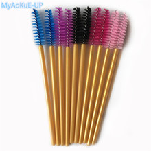 500pcs Disposable Golden Handle Eyelash Brush Mix Colors Makeup Brushes Eyelashes Mascara Wands Applicator(China)
