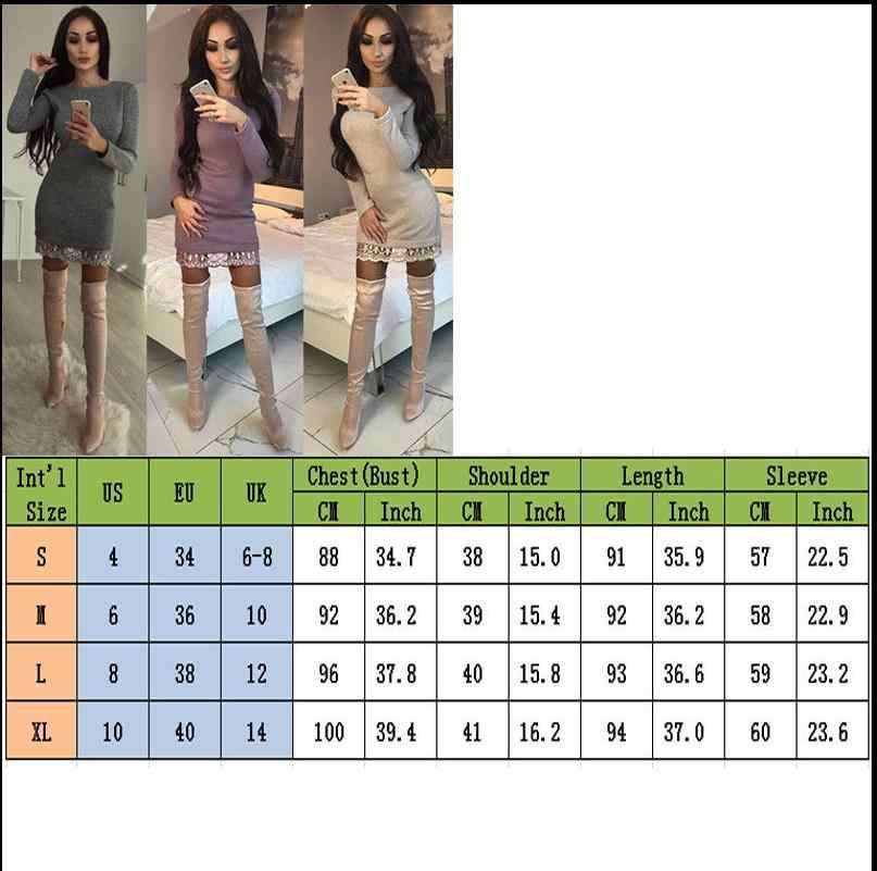 Varış Yeni Kadın Bayanlar Sonbahar Kış Katı Uzun Kollu Örgü Bodycon O-Boyun Mini Dantel Elbise Kadın Giyim