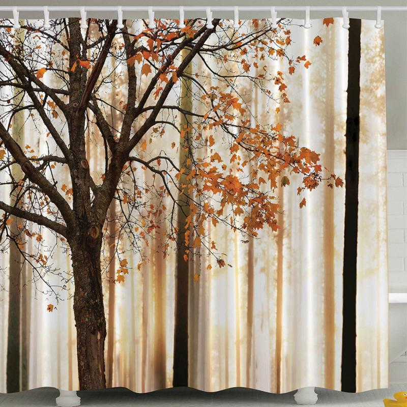 Maple Leaf Trees Pattern Bathroom Waterproof Polyester Fabric Shower Curtain 71