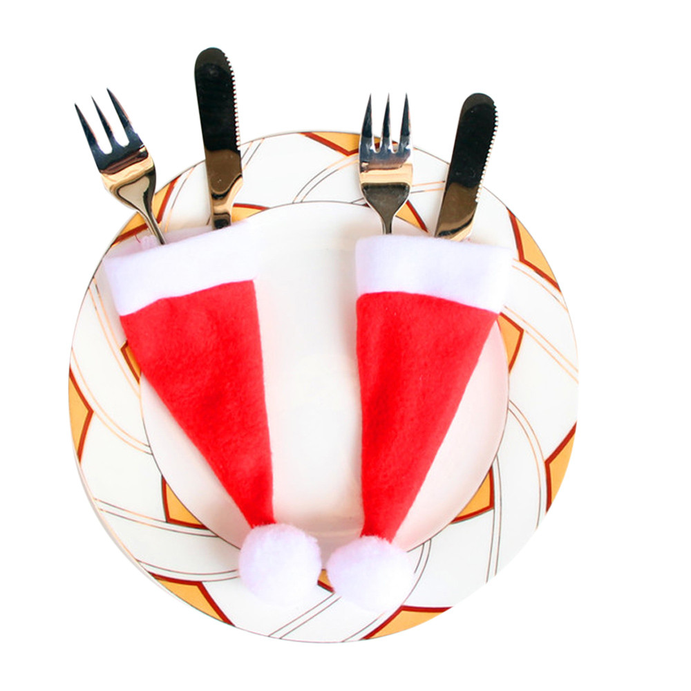 10PCS Dinnerware Sets Christmas Gift Caps Cutlery Holder Fork Knife Pocket Christmas Decoration Festival Bag Dropshipping Aug21