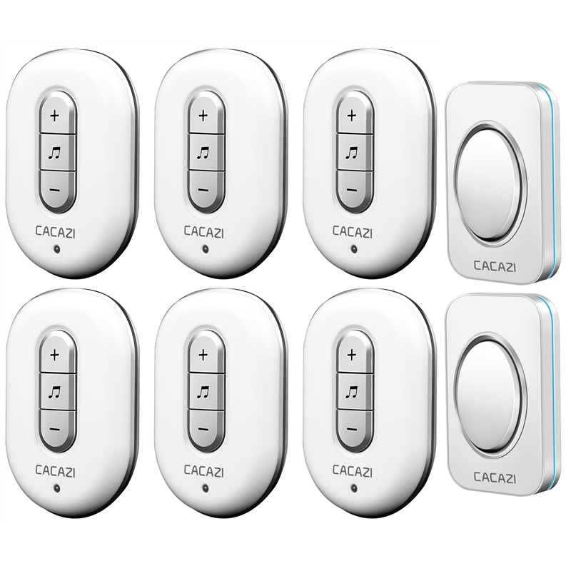 CACAZI AC 110-220V 2 transmitters+6 receivers with 48 Chimes Receiver Waterproof Wireless Doorbell Cordless Smart Door Bells 2 receivers 60 buzzers wireless restaurant buzzer caller table call calling button waiter pager system