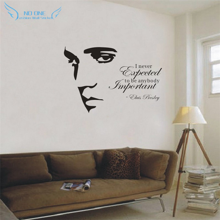 Buy elvis presley silhouette vinyl wall for Living room quote stickers