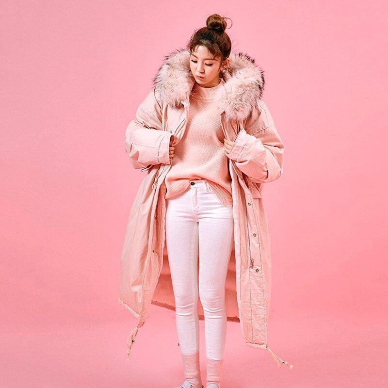 Gray pink Manteau Femmes Veste Luxe Épaissir Hiver Plus Capuchon Coréenne Femelle white Rembourré À Long Vêtements Taille Chaud Fleurs Col Fourrure Parka La De 0nOvymN8w