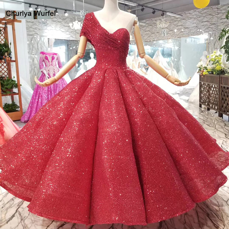 b8a0130f79925 LSS074 ankle-length wedding party dresses sexy one-shoulder princess girl  ball gown red evening prom ...