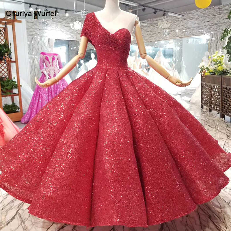 077d1f214fd LSS074 ankle-length wedding party dresses sexy one-shoulder princess girl ball  gown red