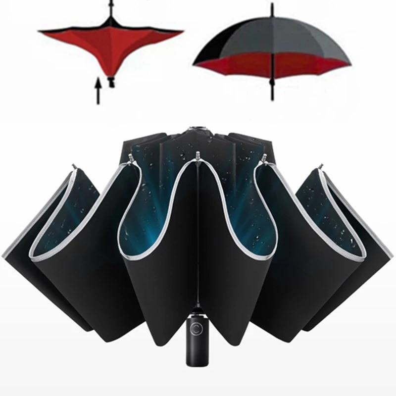 Parapluie de Protection Solaire de Voyage ext/érieur Robuste brands EnChang Parapluie Pliant Um Parapluie Pliant Coupe-Vent imperm/éable Automatique et 10 attelles en t/éflon renforc/ées