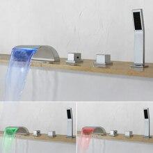 На бортике 5 шт. кран для ванной светодиодный Водопад кран-смеситель хромированный смеситель для ванной Душевой кран с латунная ручка для душа