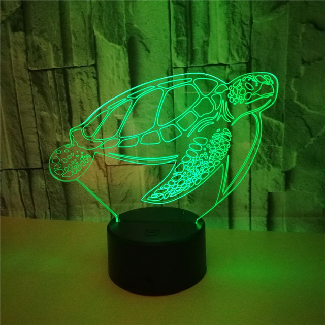 Sea Turtles 3d Visual Led Night Light 7 Color Led Desk Lamp Usb