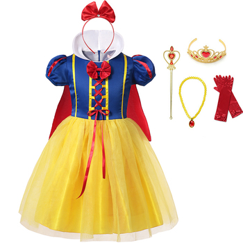 Children Girl Snow White Dress Princess Costume Kids Baby Birthday Halloween Party Fancy Dresses for Girls Cosplay Gown + Cloak children s white gown flower girls tutu dress birthday weddig party dress princess girls dresses robe fille costume for kids page 1