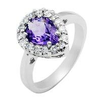 Natural Amethyst Ring 925 Sterling silver Pear Purple Crystal Woman Fashion Fine Elegant Jewelry Queen Birthstone Gift sr1214a