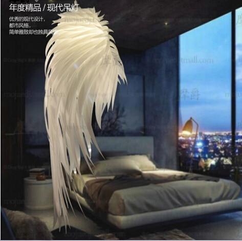 Modern Pendant Lamp Romantic Angel Wings PVC Feather Hanging Lights Bedroom Restaurants Bar Design Lamp Pendant Lighting