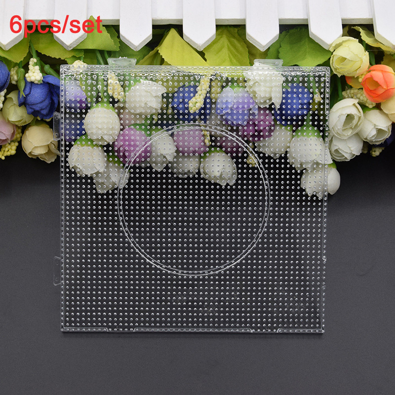 High Quality 6pcs/set 2.6mm Hama Beads Pegboard Square Shape and Circle/Hexagon Puzzle Template Perler Beads Educational Toys(China)