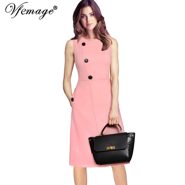 a93f6fcbd Vfemage Womens Elegant Button Pocket Tunic Vintage Work Office Casual Party  Vestido Fit and Flare A