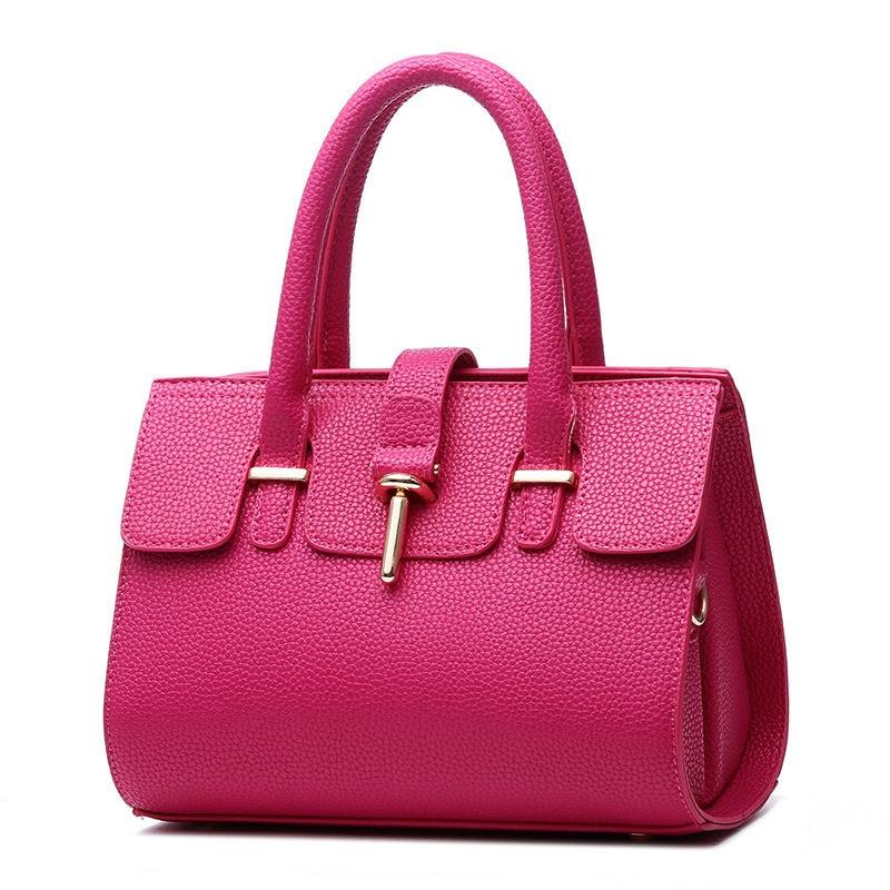 High Quality Fuchsia PU Women Handbag Fashion Casual Office Lady Tote Shoulder Bag Crossboday Messenger Toggle
