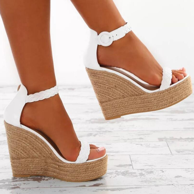 New Strappy Platform Cut Out Wedge Sandals Shoes White   eBay