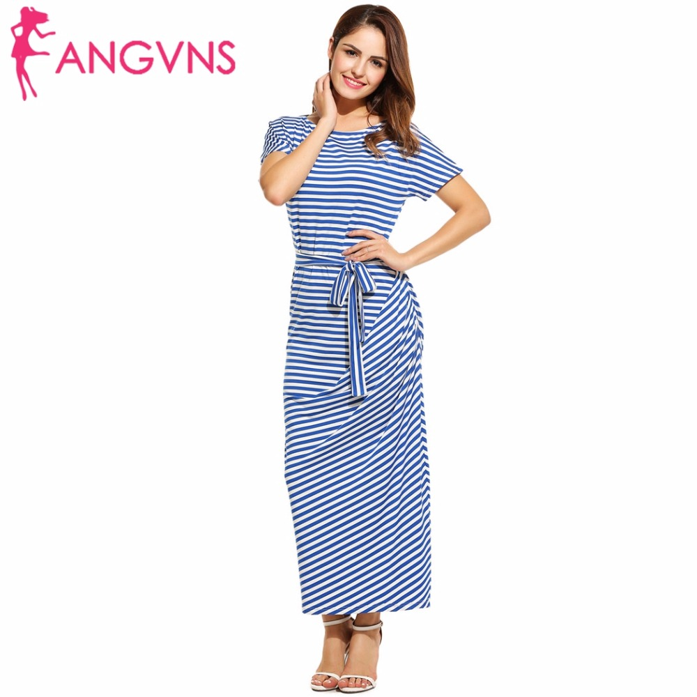 ANGVNS Plus Size Women Long Maxi Summer Dress 2017 Vestidos Loose Short Sleeve Boho Striped Dress Draped Beach Dress with Belt