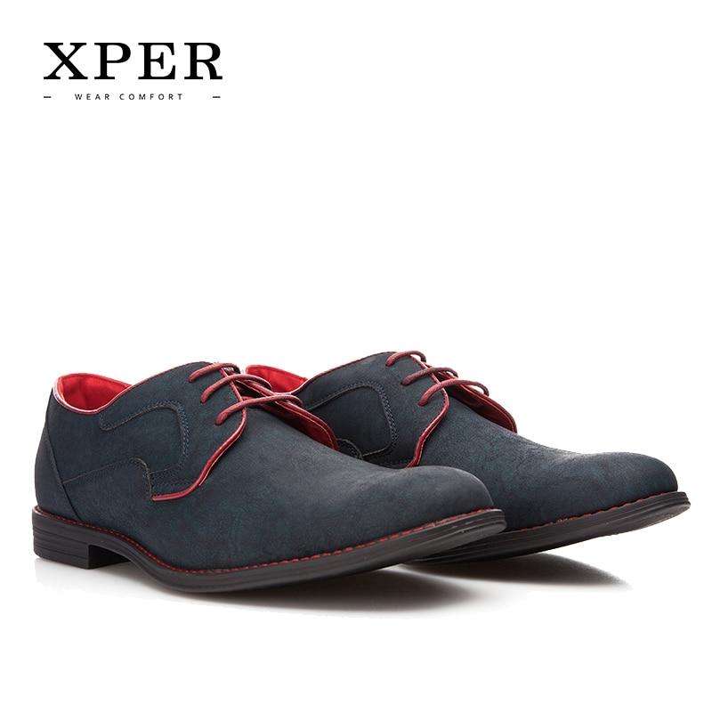 Tamaño 40 ~ 46 Marca XPER Casual Hombres Zapatos de Vestir Con Cordones Desgaste