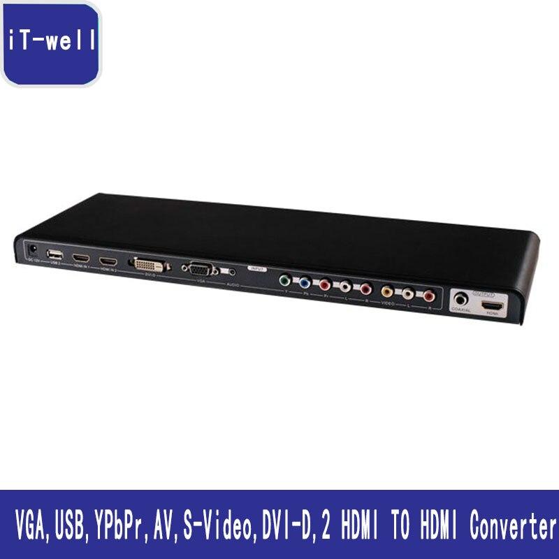 ALL To HDMI Converter Video VGA USB YPbPr AV S Video DVI D 2 HDMI To