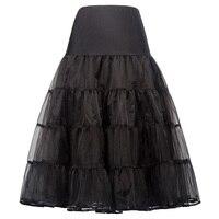 Tulle Fluffy Pettiskirt Tutu Silps Lolita Underskirt For Wedding Retro Vintage Women Gown Black Jupe Skirts