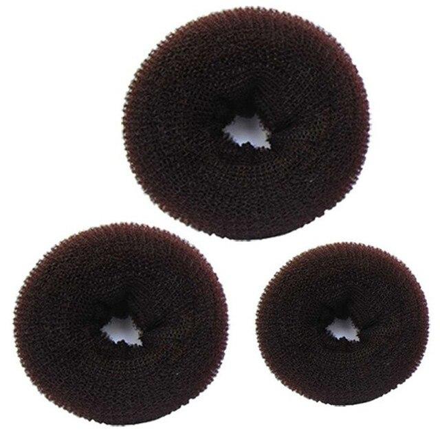 3 piezas de trenzado de esponja para mujer, Anillo para el cabello, moldeador de rosquillas, 3 tamaños, pinzas para el pelo de café