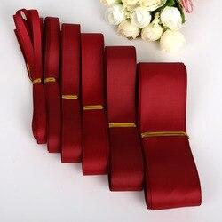 Emballage cadeau ruban de noël | Ruban gros grain couleur bordeaux 7 10 15 20 25 38mm, matériel décoratif pour réception de mariage, 5Yards/lot
