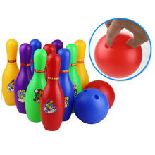 Colorful Standard 12 Piece Bowling Set w/ 10 Pins, 2 Bowling Balls Children Kids Educational Toy Party Fun Family Game (Large) mini desktop bowling game toy set fun indoor parent child interactive table game bowling developmental toy