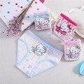 4 unids/lote Chicas Ropa Interior Cute Hello Kitty Patrón Niños Bragas Niños Ropa de Algodón Respirable Cómodo Kawaihae Marca