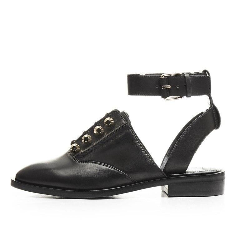 Pic 2018 En Casual Rond Printemps Chaussures Hot Cheville Automne Bout Cuir Wrap Boucle Sangle As Femme Conception Slingbacks Piste Appartements 4AL5R3j