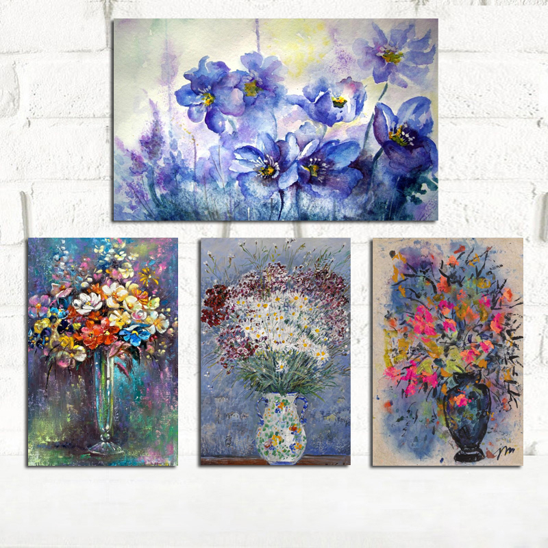 YWDECOR Modern Abstract Flower In A Vase Orchid Canvas Painting Print On Canvas Wall Art Picture Poster Living Room Home Decor