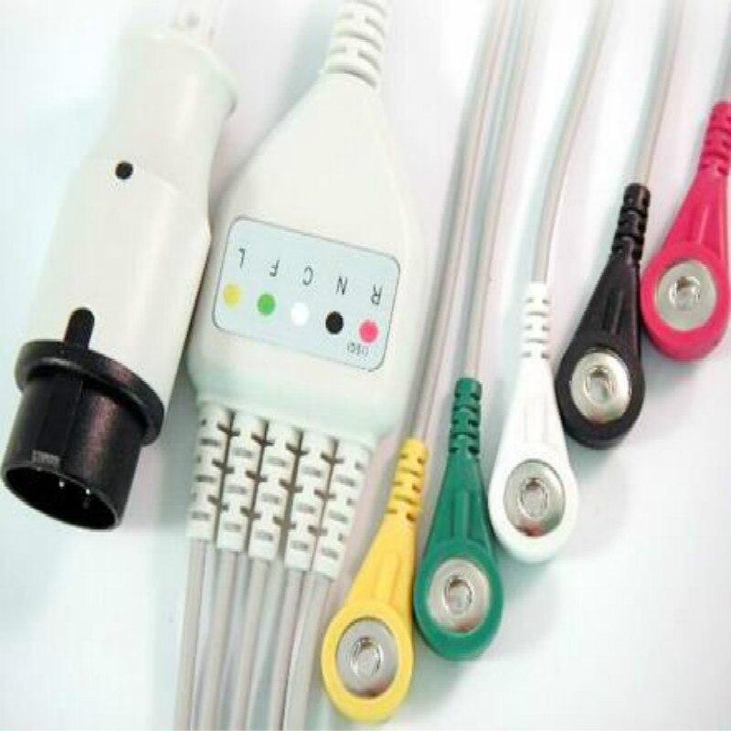 Совместимый для Bionet BM3 цельный терпеливый ECG кабель 5 проводов, 6pin Ecg Leadwires Snap End IEC стандартный монитор пациента ECG кабель