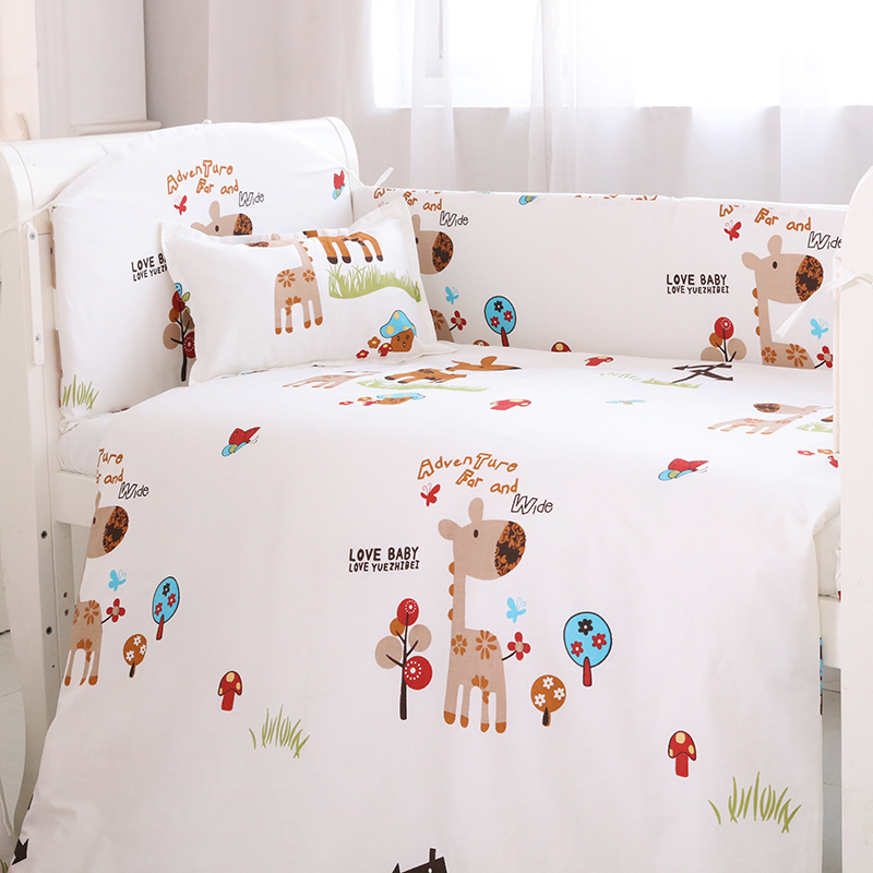 (4 bumpers+1 sheet )5 pcs / set baby crib bumpers bed sheet bedding set cotton bed around protection star Giraffe rabbit design niklen скатерть круглая белая acdchs9