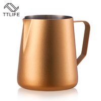 TTLIFE Stainless Steel Milk Jug 600ml Espresso Milk Coffee Frothing Jug Coffee Percolators Foam Frothing Tools Coffeeware