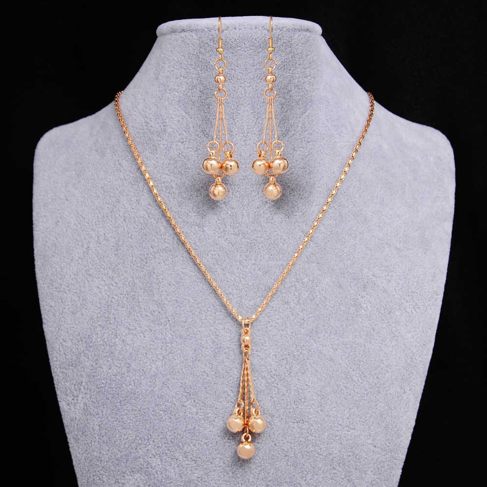2018 Fashion African Bead Jewelry Sets For Women Wedding Accessory Gold Color Tassel Pendant Necklace Earrings Jewelry Sets