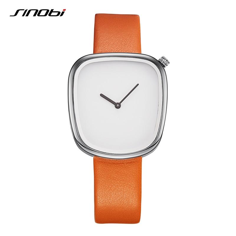SINOBI Marke Unregelmäßigen Design Mode Kreative Frauen Uhren 2017 Neutral 4 Leder Farben Quarz damenuhr relogio feminino