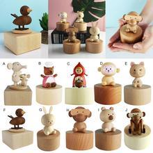 купить Wooden Music Box Cute gift for Christmas happy birthday Christmas new year gift children gift Mini Animal Hand Crank Theme Music недорого
