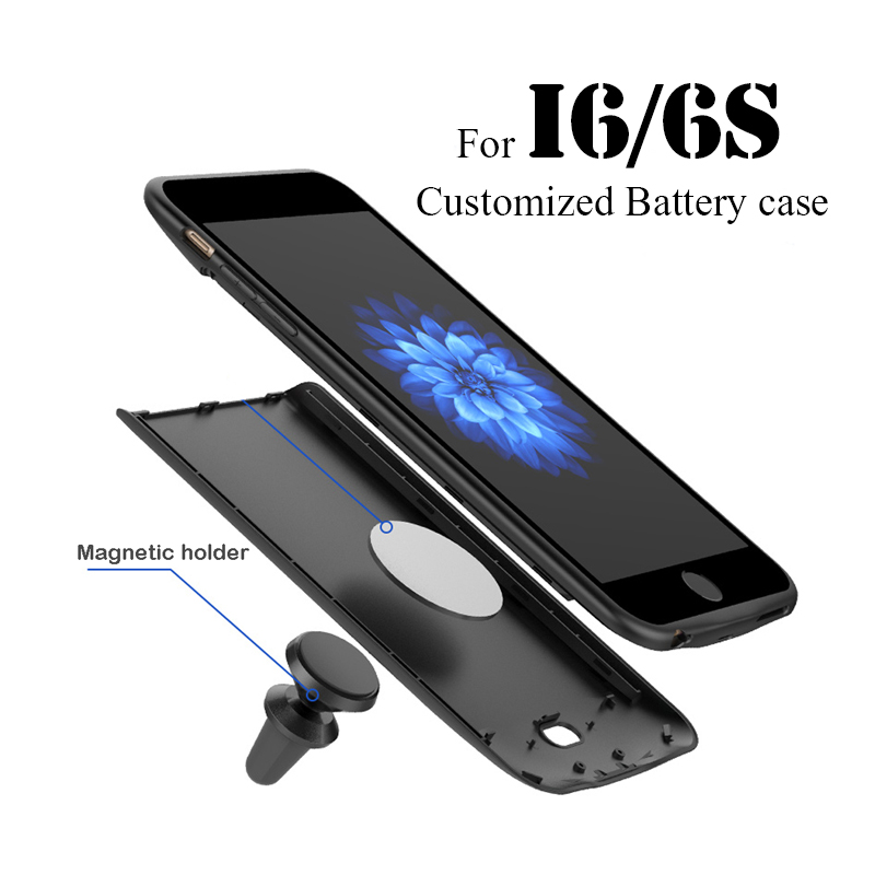 2018New Customized Wrieless charger with Car holder For iphone 6 6S Plus Power bank External Backup Battery Charging Case