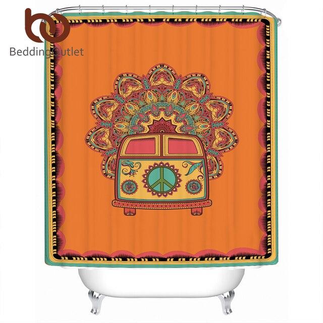 Beddingoutlet Hippie Car Orange Shower Curtain Waterproof Vintage