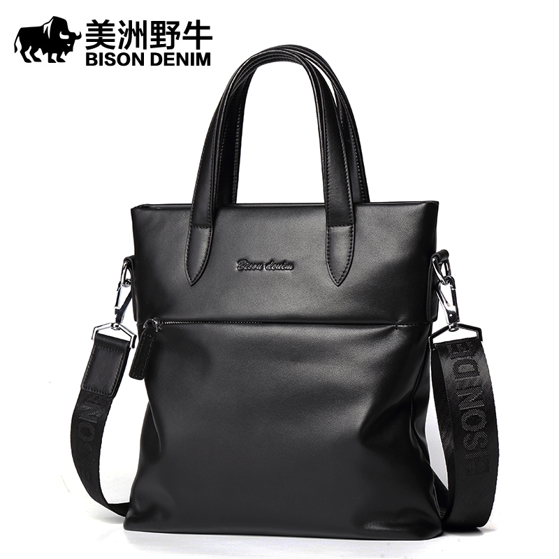 2018 BISON DENIM Brand Handbag Men Shoulder Bags Leather Genuine Business Travel Messenger Bag Men's Cowhide Briefcase Tote Bag brand bison denim handbag men genuine leather shoulder bags business travel cowhide crossbody bag tote bag men s messenger bag