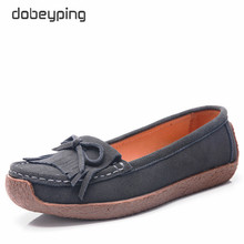 dobeyping Spring Autumn Woman Shoes Cow Suede Leather Women Flats Tassel Women's Loafers Moccasins Female Shoe Slip On Footwear 2017 spring autumn shoes cow leather slip on loafers women flats loafers shoes woman female large