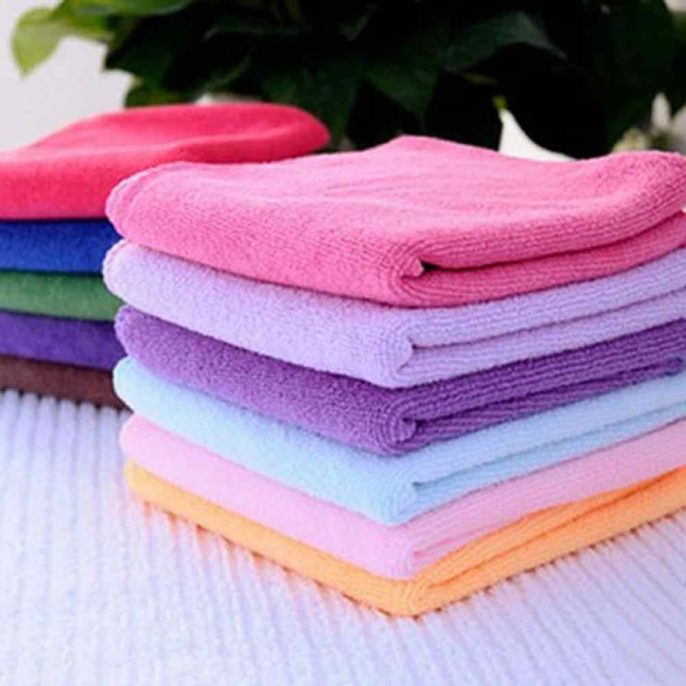 10PCS Hot Sale Random Color Candy Color Thin Soothing Cotton Face/Hand Towel / Cleaning Wash Cloth Home Clean Car