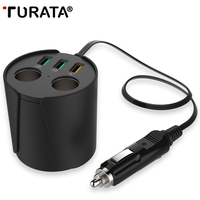 Turata Quick Charger 3 0 3 USB DC 5V 3A Cup Power Socket Adapter Cigarette Lighter